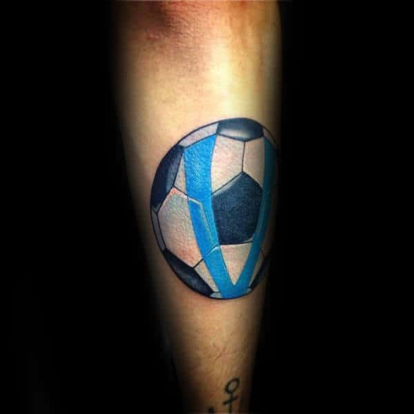 Traditional Soccerball With Blue Stripes Mens Shin Tattoos