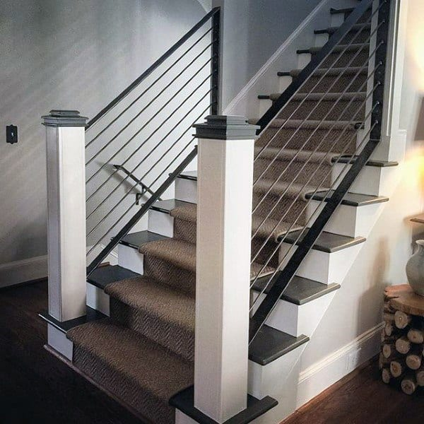 Traditional Staircase Ideas With Suspended Wire Railing