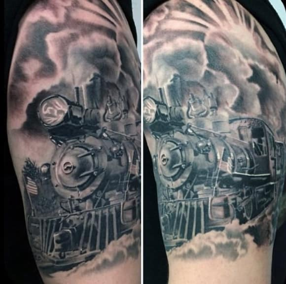 Traditional Steam Train Tattoo For Men On Upper Arm