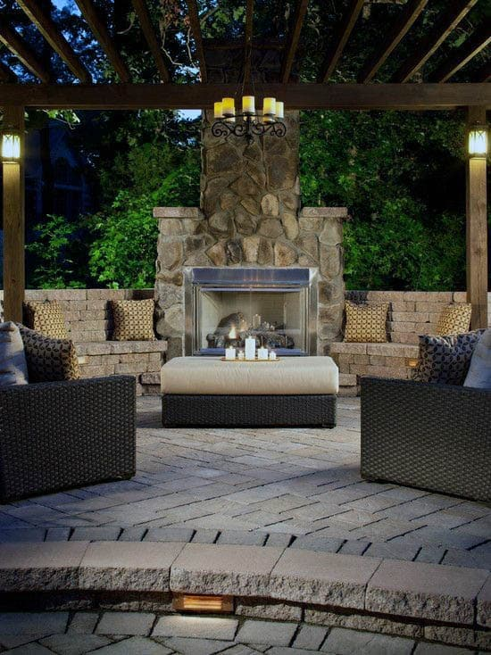 Traditional Stone Outdoor Fireplace Lounge