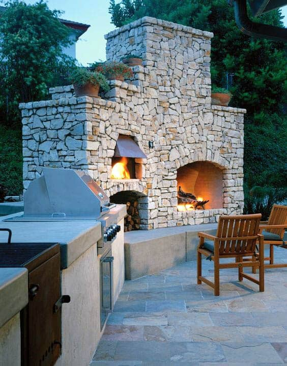 Traditional Stone Outdoor Fireplace With Brick Oven And Grill