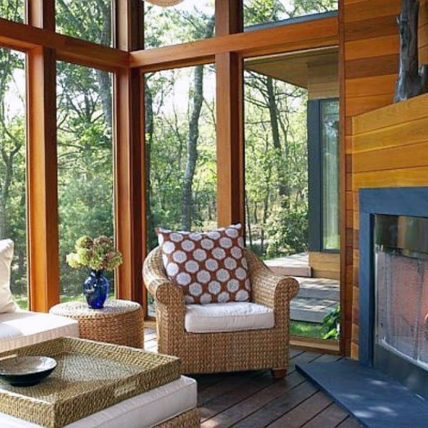 Traditional Sunroom Ideas With Wood Walls And Fireplace