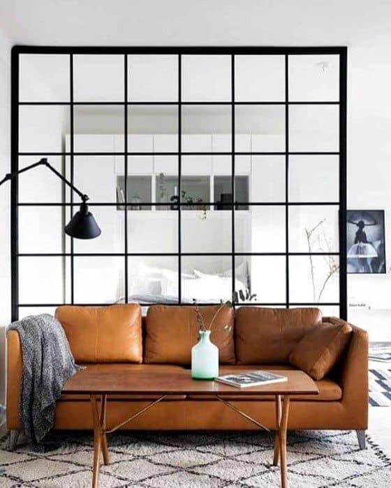 Traditional Tan Leather Sofa Bachelor Pad Furniture