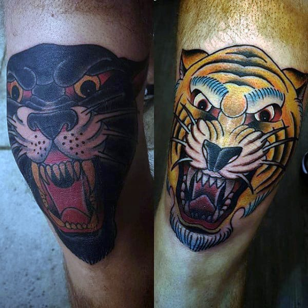 Traditional Tiger Mens Knee Cap Tattoos