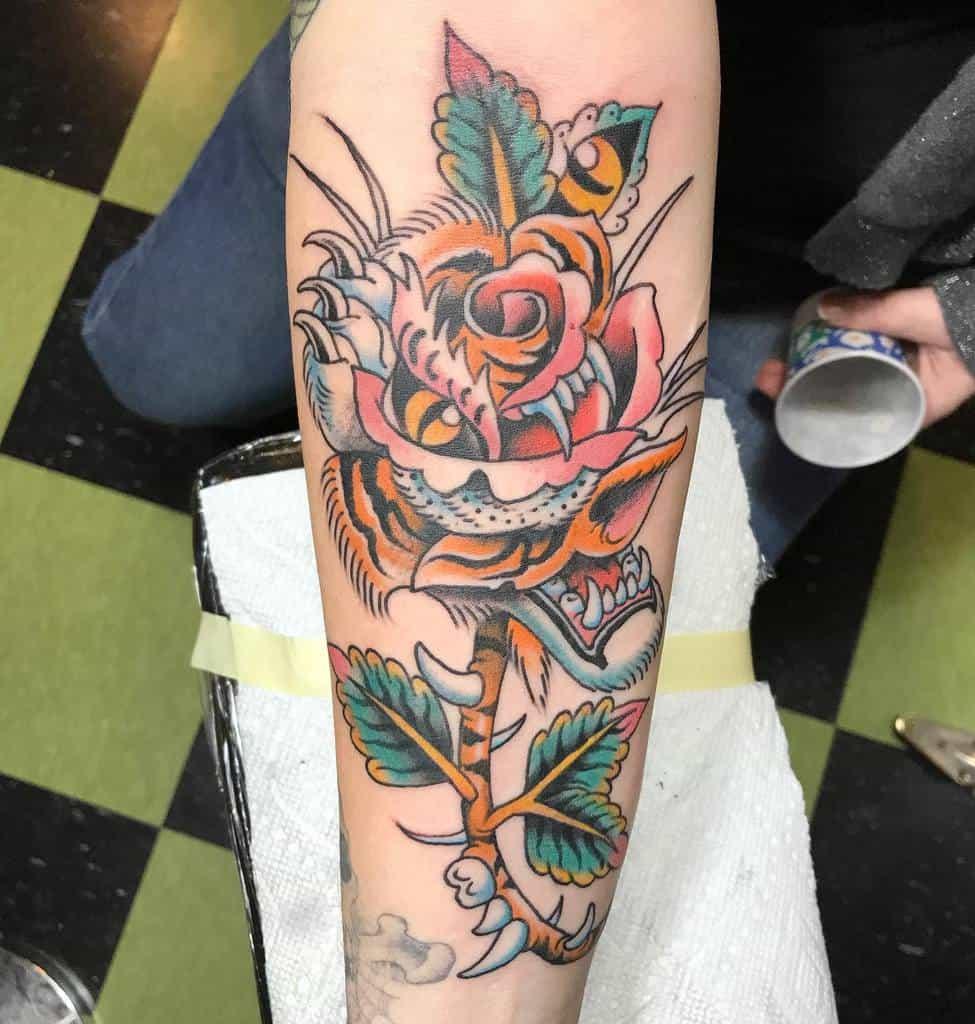 traditional tiger rose tattoos a_e_craven