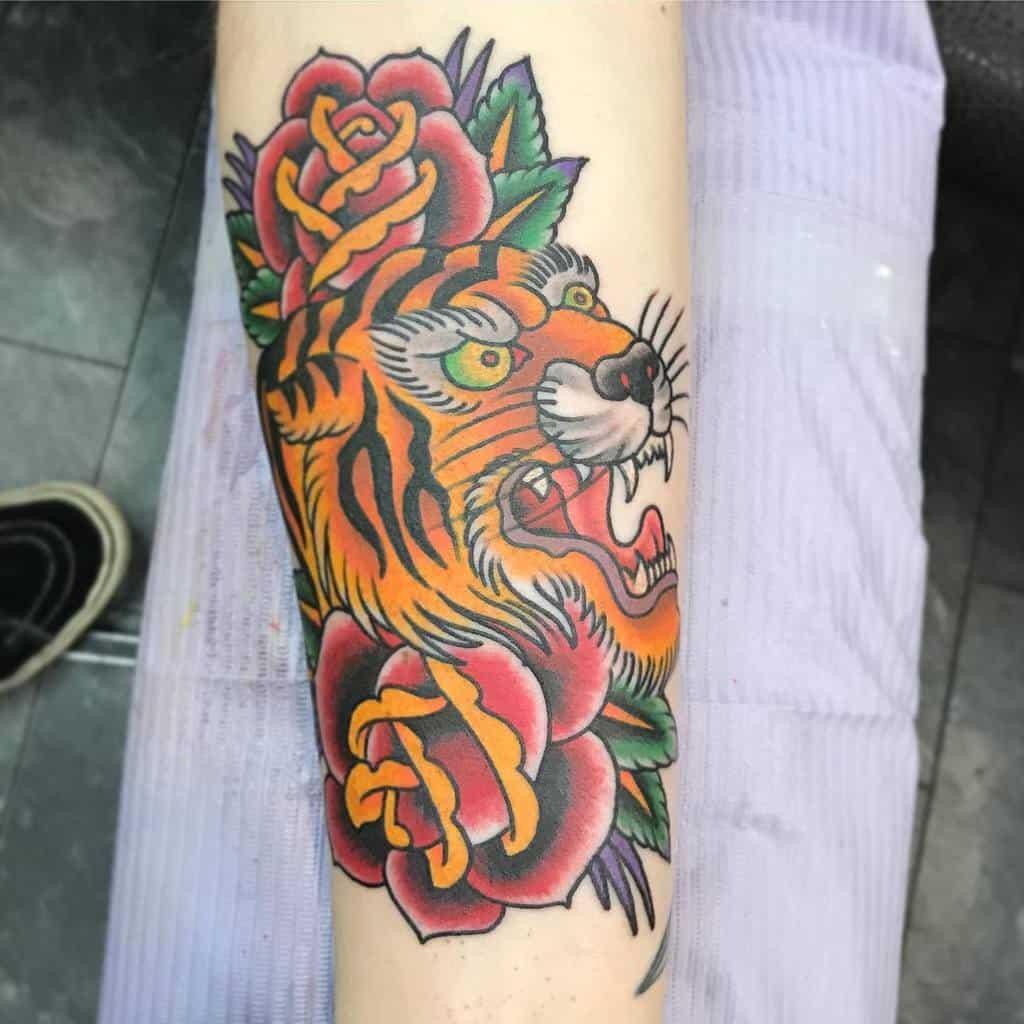 traditional tiger rose tattoos jacob_miller