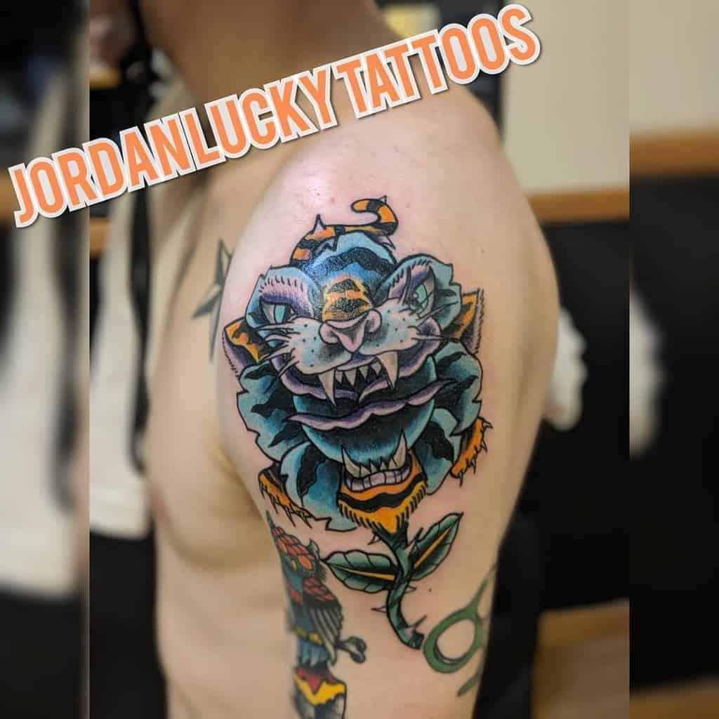 traditional tiger rose tattoos jordanluckytattoos