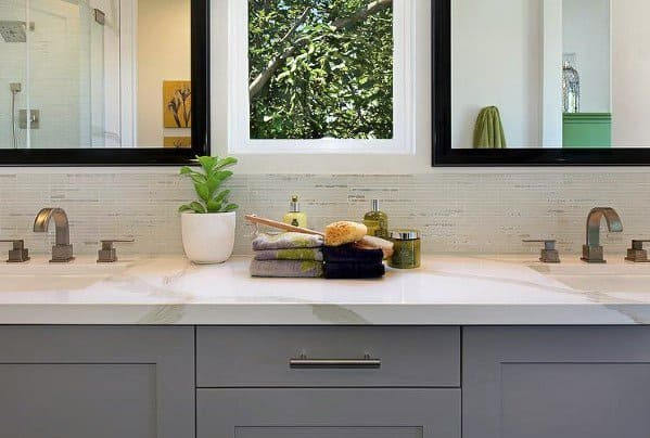 Traditional Tile Ideas Bathroom Backsplash Interiors With Grey Vanity And Marble Top