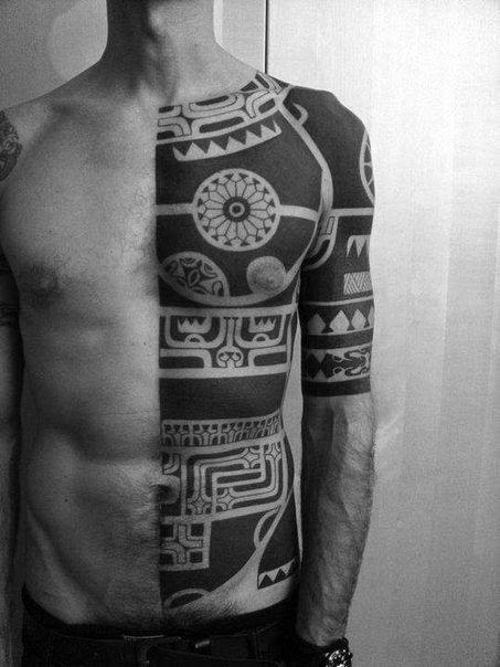 Traditional Tribal Blackwork Half Body Chest And Upper Arm Tattoos
