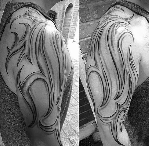 Traditional Tribal Male Sick Arm Tattoo With Shaded Design