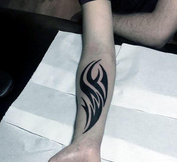 Traditional Tribal Mens Black Ink Forearm Tattoos