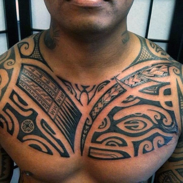 50 Polynesian Chest Tattoo Designs For Men Tribal Ideas