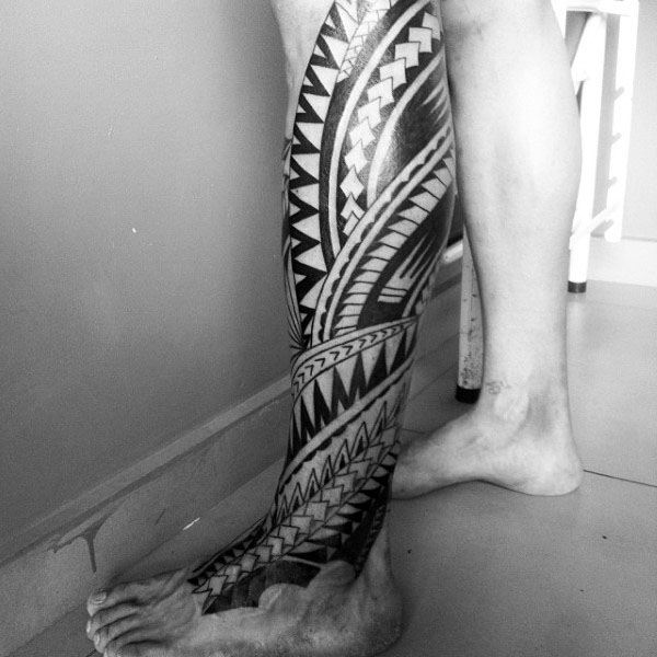 Traditional Tribal Polynesian Tattoo On Guy