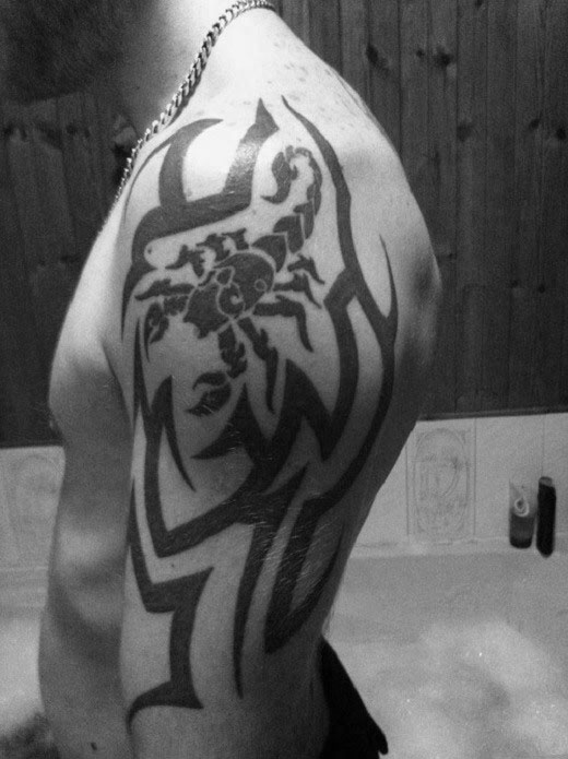 Traditional Tribal With Scorpion Male Arm Tattoo Designs