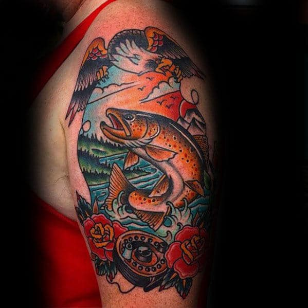 Traditional Trout With Rose Flowers And Eagle Male Arm Tattoo