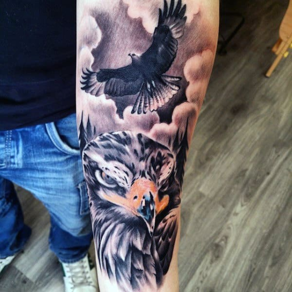 Traditional Two Hawk Flying Tattoo On Guy Half Sleeve