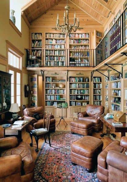 Traditional Two Story Home Library Room