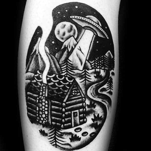Traditional Ufo Flying Over Cabin Male Arm Tattoo