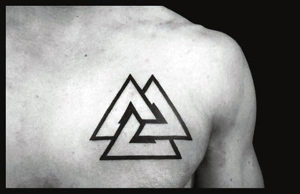 Traditional Valknut Knot Mens Upper Chest Norse Tattoos