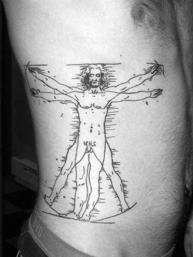 Traditional Vitruvian Man Mens Sketched Rib Cage Side Tattoo Design Ideas