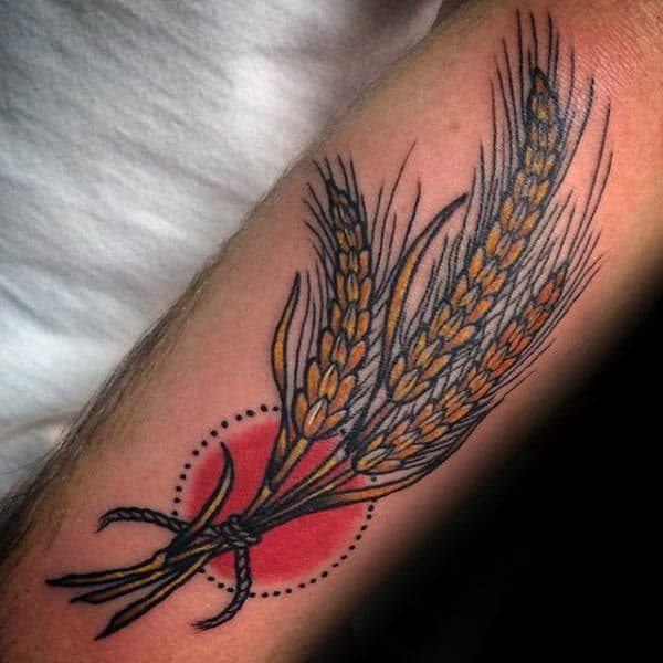 Traditional Wheat Virgo Mens Forearm Tattoos