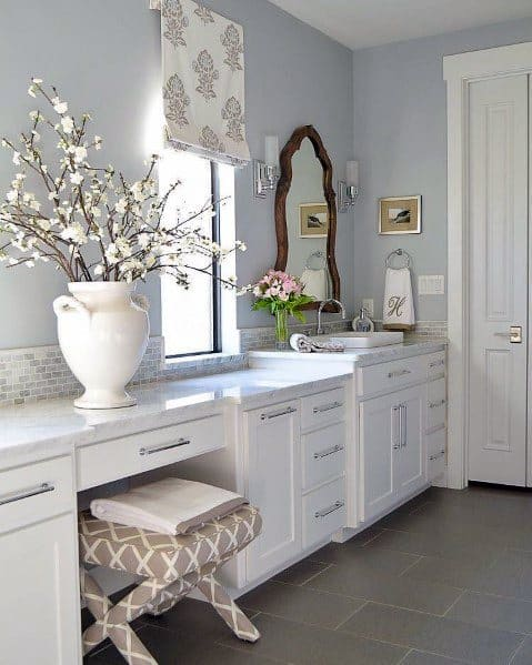 Traditional White Bathroom Vanity Ideas With Marble Countertop