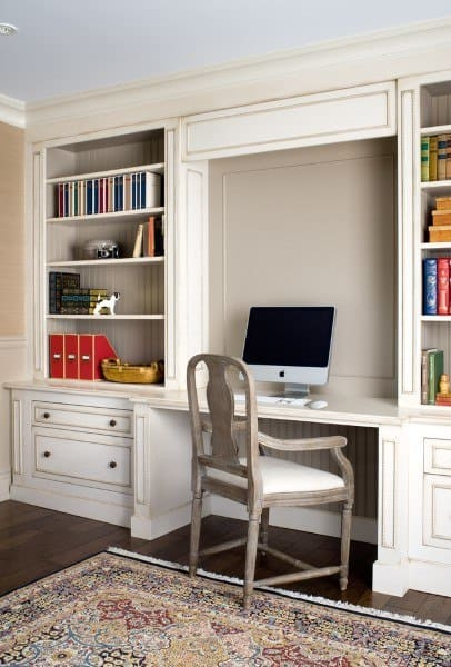 traditional white built in desk ideas - Desk In Living Room