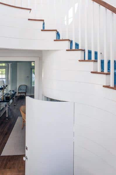 Traditional White Painted Basement Staircase Cool Interior Ideas