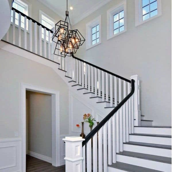 Traditional White Painted Interior Ideas Wood Stairs