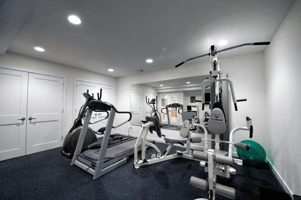 Traditional White Wall Paint Home Gym