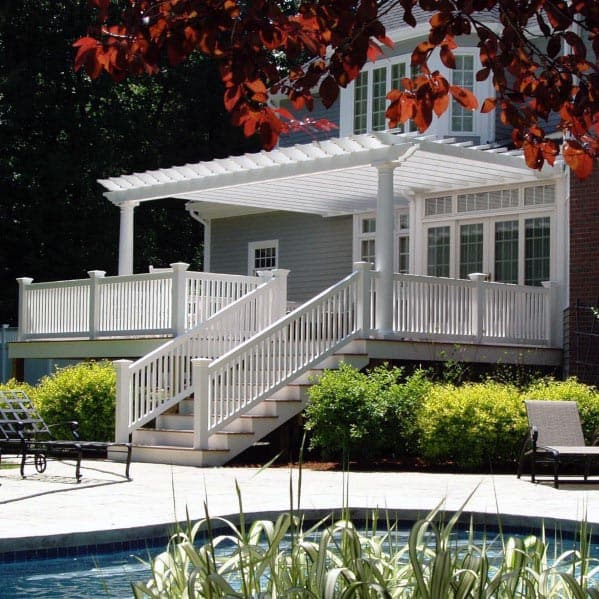 Traditional Wihte Deck Railing Cool Backyard Ideas