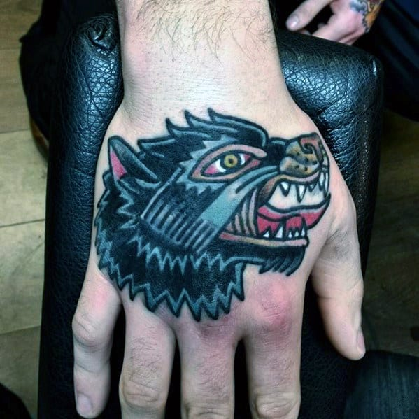 Traditional Wolf Male Hand Tattoos