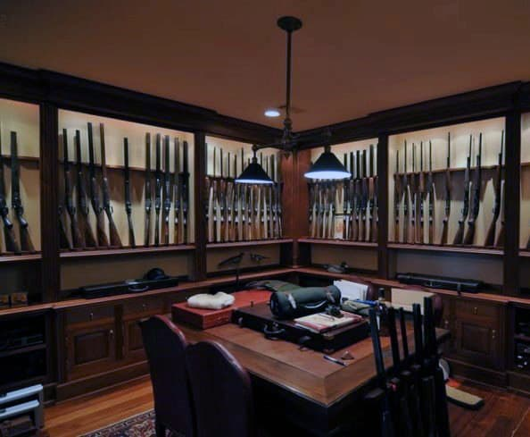 Traditional Wood Gun Room Design