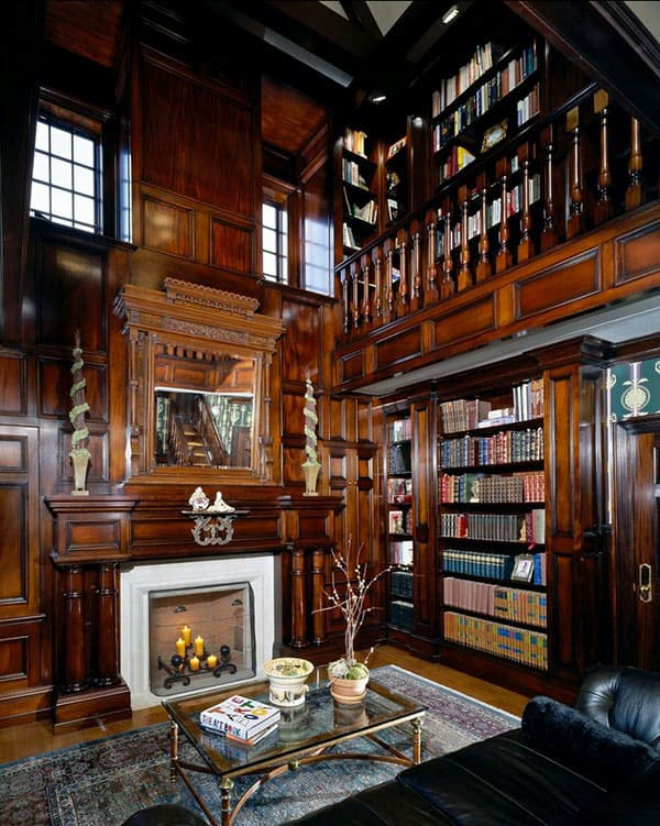 Traditional Wood Home Library Bookcases