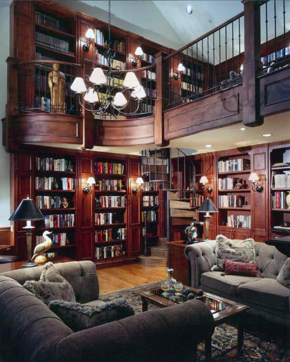 Traditional Wood Home Library Design Inspiration Ideas