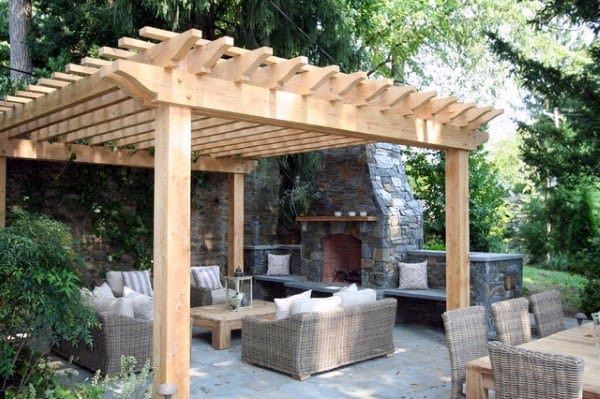 Traditional Wood Pergola Ideas With Stone Fireplace In Backyard Of House