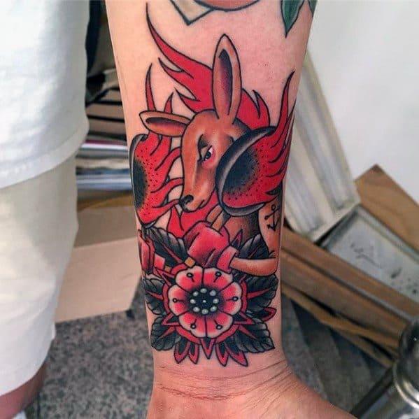 Traditional Wrist Mens Tattoo Kangaroo Design