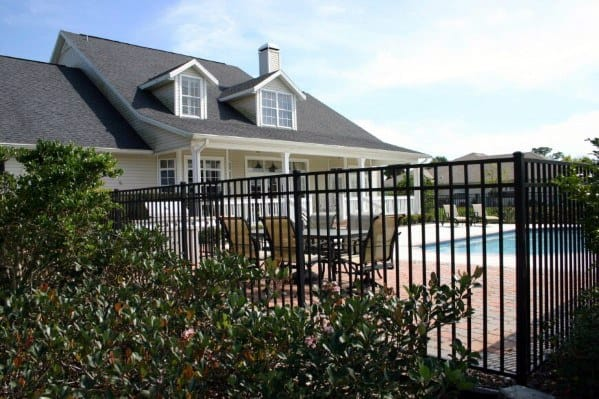 Traditional Wrought Iron Metal Black Painted Home Ideas Pool Fence