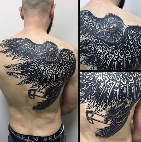 Traditionally Patterned Raven Tattoos Guys Back