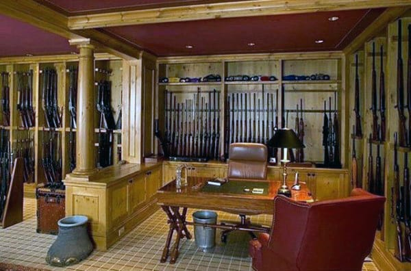Traditonal Gun Room With Office Design