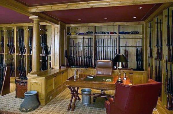 Traditonal Gun Room With Office Design