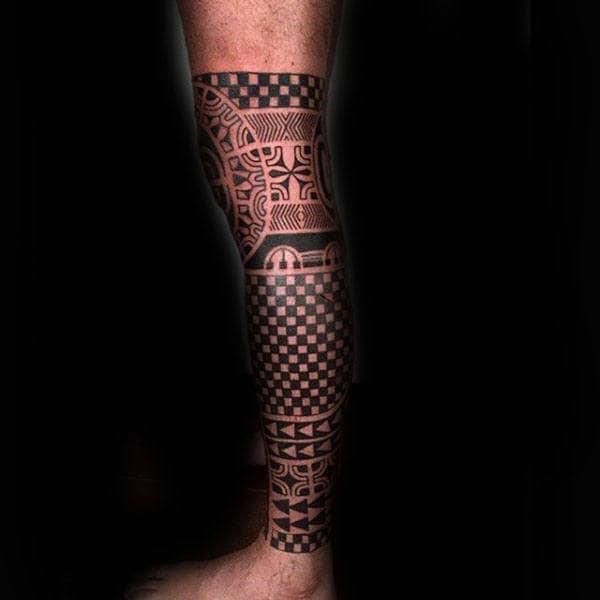 Tradtional Guys Tribal Leg Sleeve Tattoo Inspiration Ideas