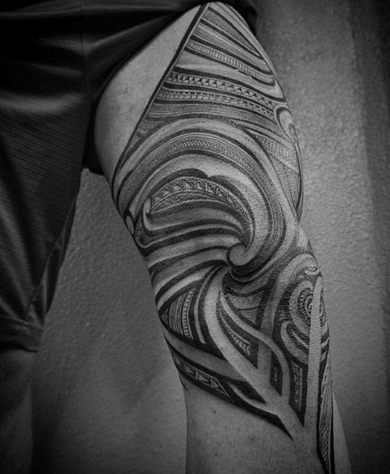 Tradtional Polynesian Mens Thigh And Leg Tattoos
