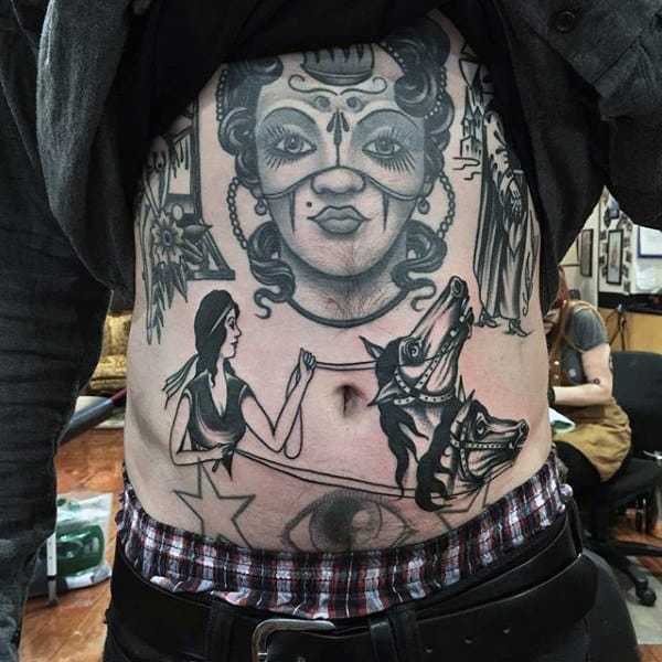 Tradtitional American Girl Controlling Beasts Tattoo Guys Torso