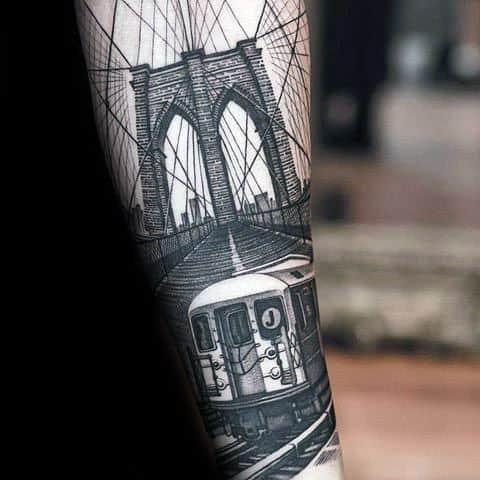 Train Brooklyn Bridge Mens Forearm Tattoo