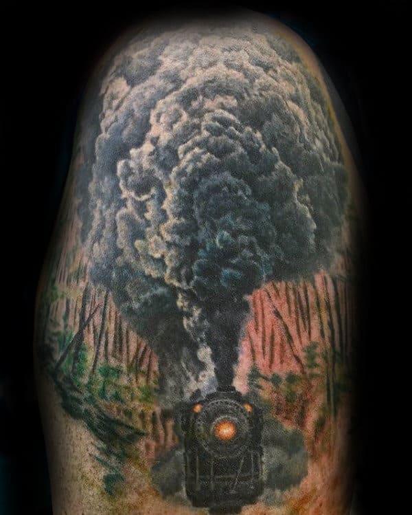 Train Moving Through Forest Mens Upper Arm Tattoos