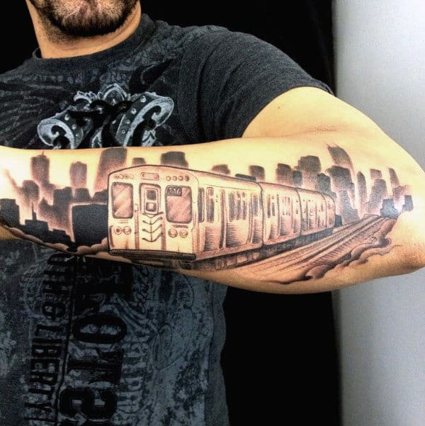 Train Station Chicago Skyline Tattoo For Men On Outer Forearm
