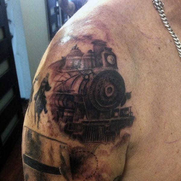 Train Tattoo Inspiration For Men On Shoulder