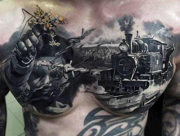 Train With Barb Wire And Child Portrait Guys Amazingly Cool Chest Tattoo