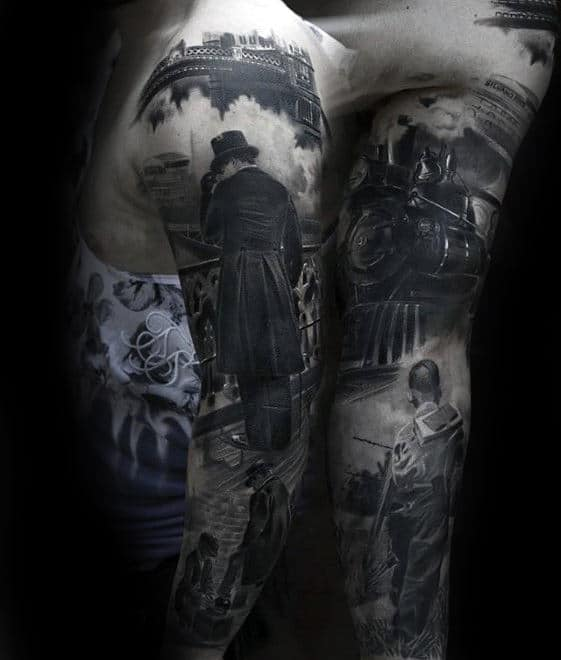 Train With City Scenes Mens 3d Arm Sleeve Tattoo